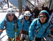 De izquierda a derecha: Manu Córdova, Martín Moriyón y Silver Barrientos tras el Open.<br>Foto: Jóvenes Alpinistas de la FEDME
