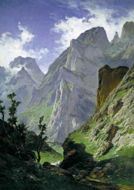 La canal de Mancorbo, en los Picos de Europa, pintado por Carlos de Haes, 1876. Una gran muestra del paisaje realista del siglo XIX.