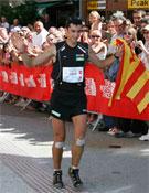 Kilian Jornet llegando a meta con el récord en el bolsillo. Foto: UTMB