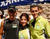 El equipo Salomon Santiveri, de izquierda a derecha: Kilian Jornet, Stephanie Jiménez y Agustí Roc.- Foto: Salomon