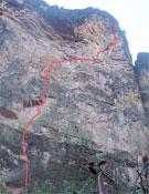 La línea de Amurita, 600 metros de E7 6B en el Amuri Tepui de Venezuela.- Foto: Colección Arran