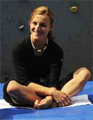 Andrea en la zona de aislamiento de la segunda prueba de la Copa, en Oviedo, este 2008.- Foto: desnivelpress.com