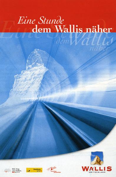 Cartel promocional de los nuevos túneles en los Alpes.
