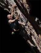Markus Bock escalando en Margalef.- Foto: María Torres