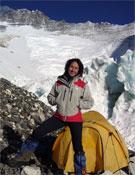 Lina Quesada en el campo 2 del Everest.- Foto: col. Lina Quesada