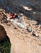 Leo y Carlos escalando en ensamble en La Visera.- Foto: Manu Prats