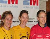 Podio femenino del Kilómetro Vertical 2009.