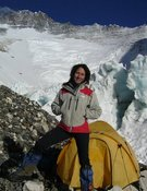 Lina Quesada en una expedición anterior. Col. L. Quesada
