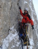 David Palmada durante la escalada
