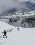 Cerca del pie de la cara norte del Everest