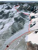 La ruta prevista. Foto: RTVE - Al filo de lo imposible