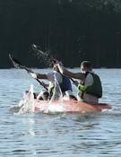 Sección de kayak en el pantano de As Forcadas. Foto: Raid Somozas Extreme