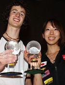 Ondra y Noguchi, con sus premios. Foto: Newspower