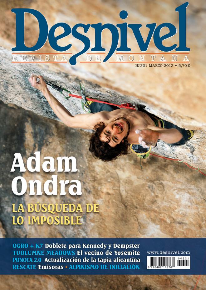 Portada de la revista Desnivel nº 321. Marzo 2013. Confesiones de Adam Ondra. ALTA