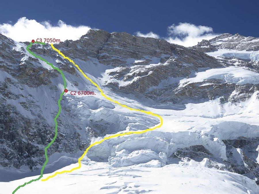 Kangchenjunga norte: en amarillo la ruta original británica y en verde la que han seguido Alex Txikon, Denis Urubko, Adam Bielicki