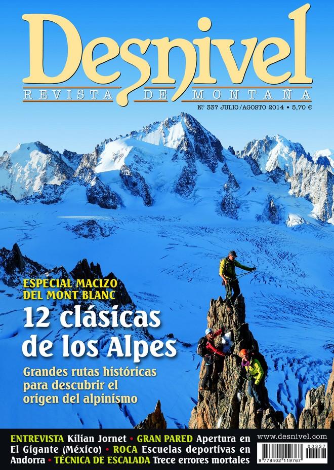 Portada de la revista Desnivel nº 337. Julio 2014. Especial Mont Blanc [WEB]