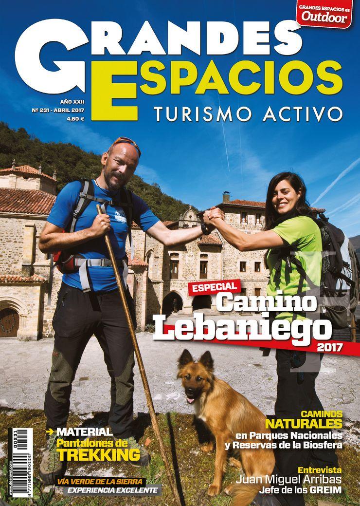 Portada de la revista Grandes Espacios nº 231. Especial Camino Lebaniego. Abril 2017.
