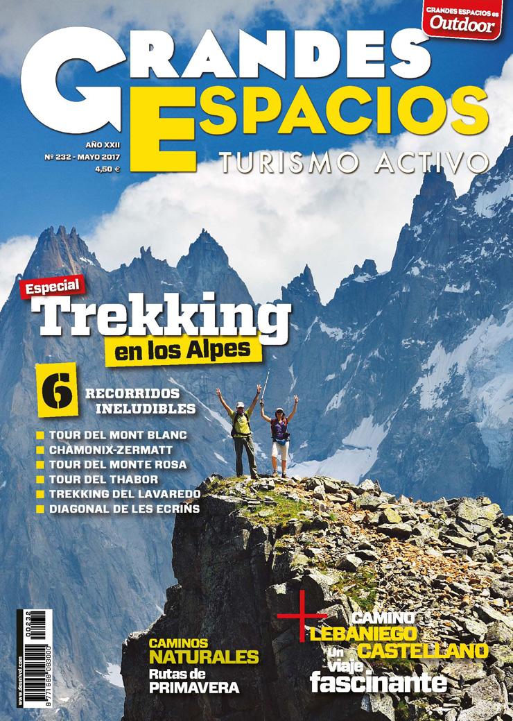 Portada de la revista Grandes Espacios nº 232. Especial Trekking en los Alpes.