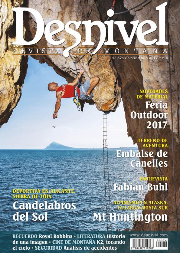 Portada de la revista Desnivel nº 374. Septiembre 2017.