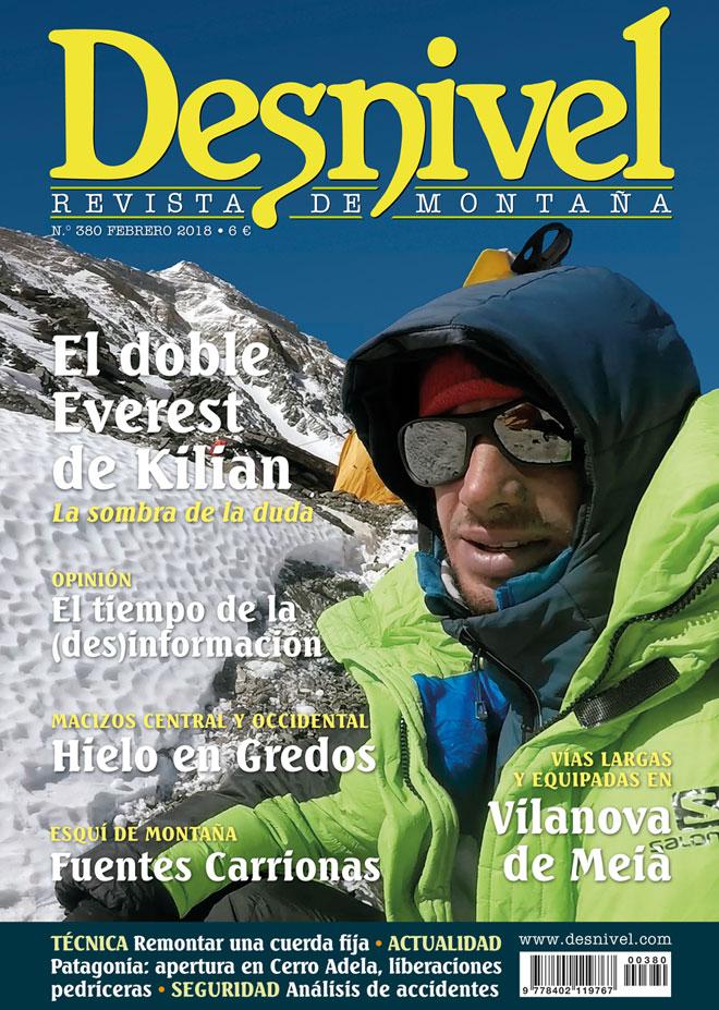 Portada de la revista Desnivel nº 280. El doble Everest de Kilian.